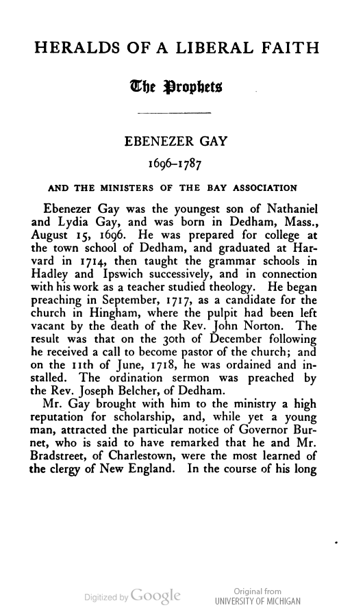 Ebenezer Gay biography