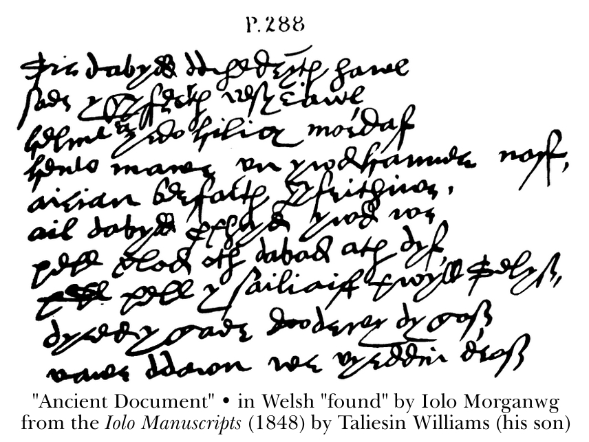 Ancient Document in Welsh, found by Iolo Morganwg. From the Iolo Manuscripts (1848) by Taliesin Williams (his son)