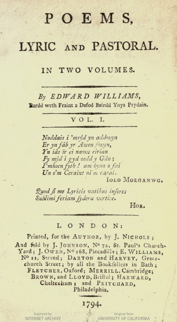 Poems. Lyric and Pastoral in Two Volumes by Edward Williams, 1794