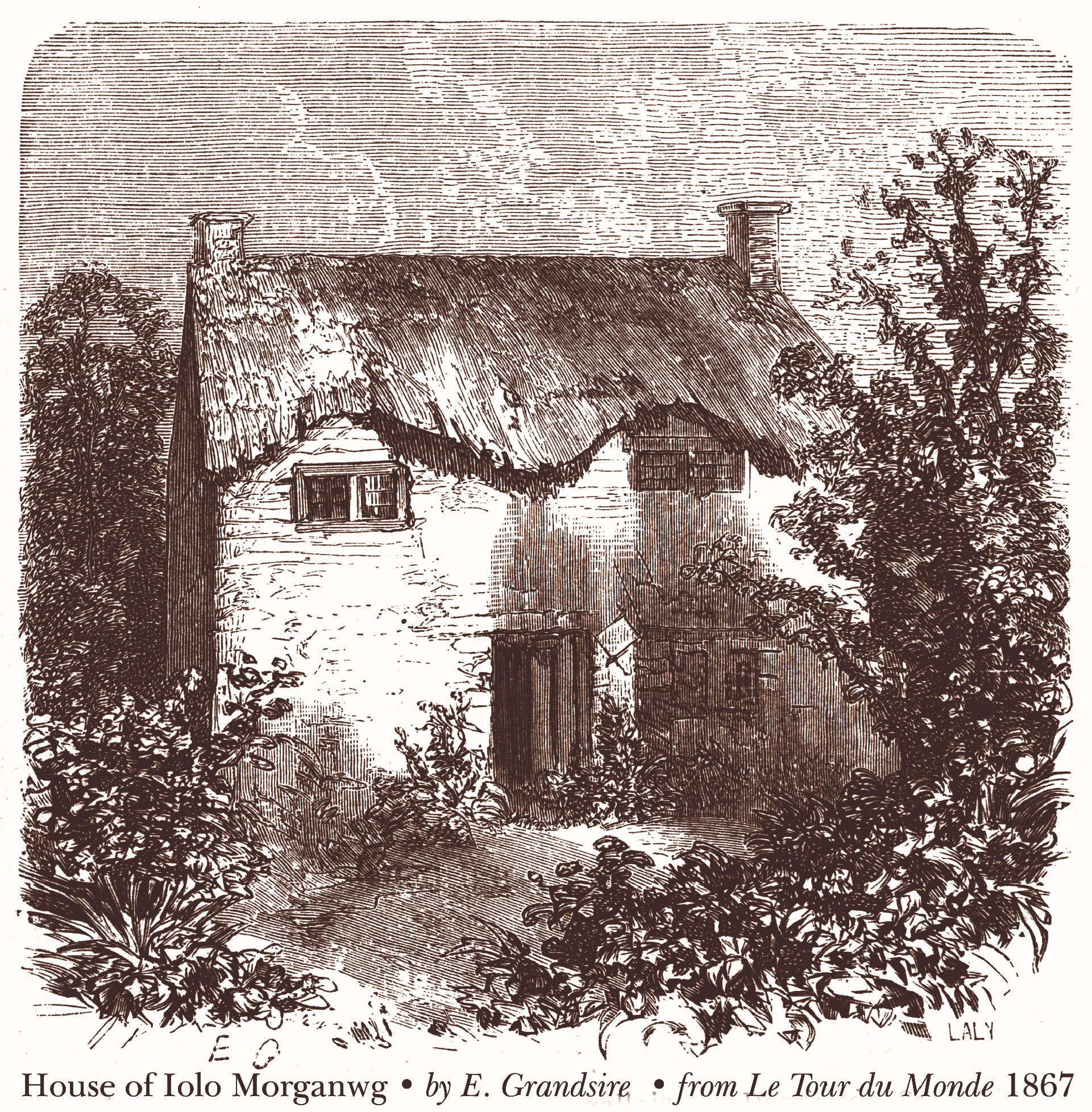House of Iolo Morganwg - drawn by E. Grandsire - from: Le Tour du Monde (1867)