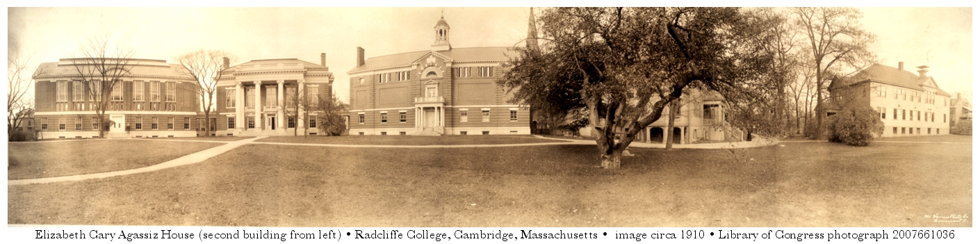 Elizabeth Cary Agassiz House at Radcliffe College, Cambridge, Massachusetts. Image circa 1910 from the Library of Congress, photograph 2007661036