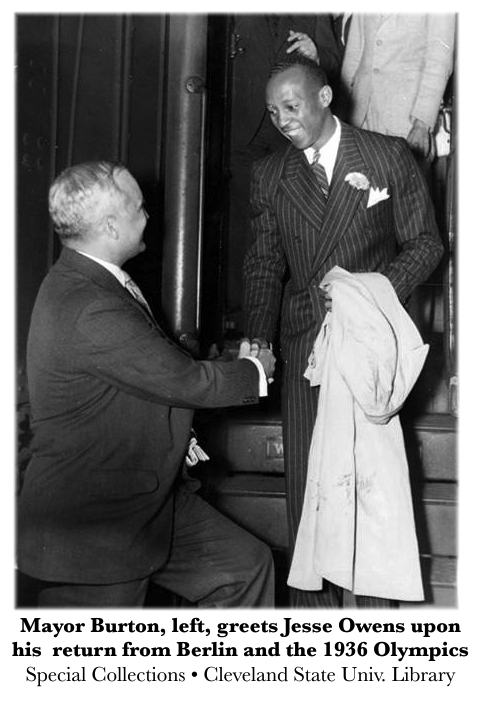 Mayor Burton greets Jesse Owens
