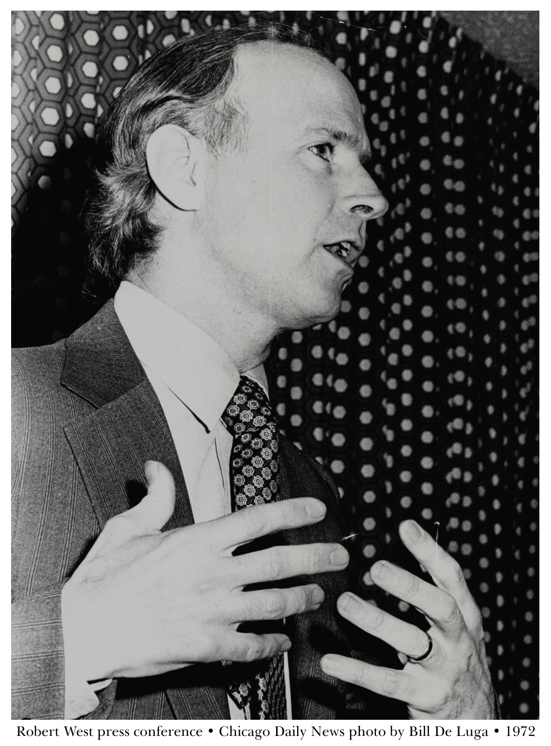 Robert West speaks at 1972 press conference