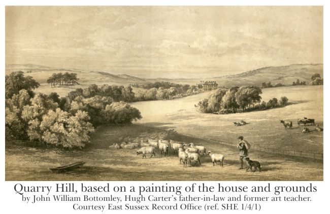 Quarry Hill, based on a painting of the house and grounds by John William Bottomley, Courtesy East Sussex Record Office