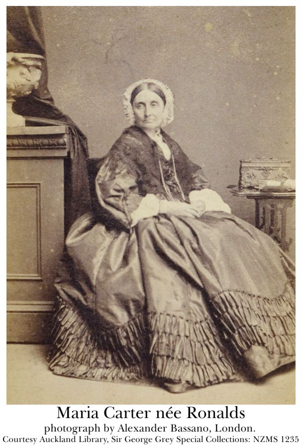 Maria Carter née Ronalds, photographed by Alexander Bassano in London. Courtesy Auckland Library, Sir George Grey Special Collections: NZMS 1235