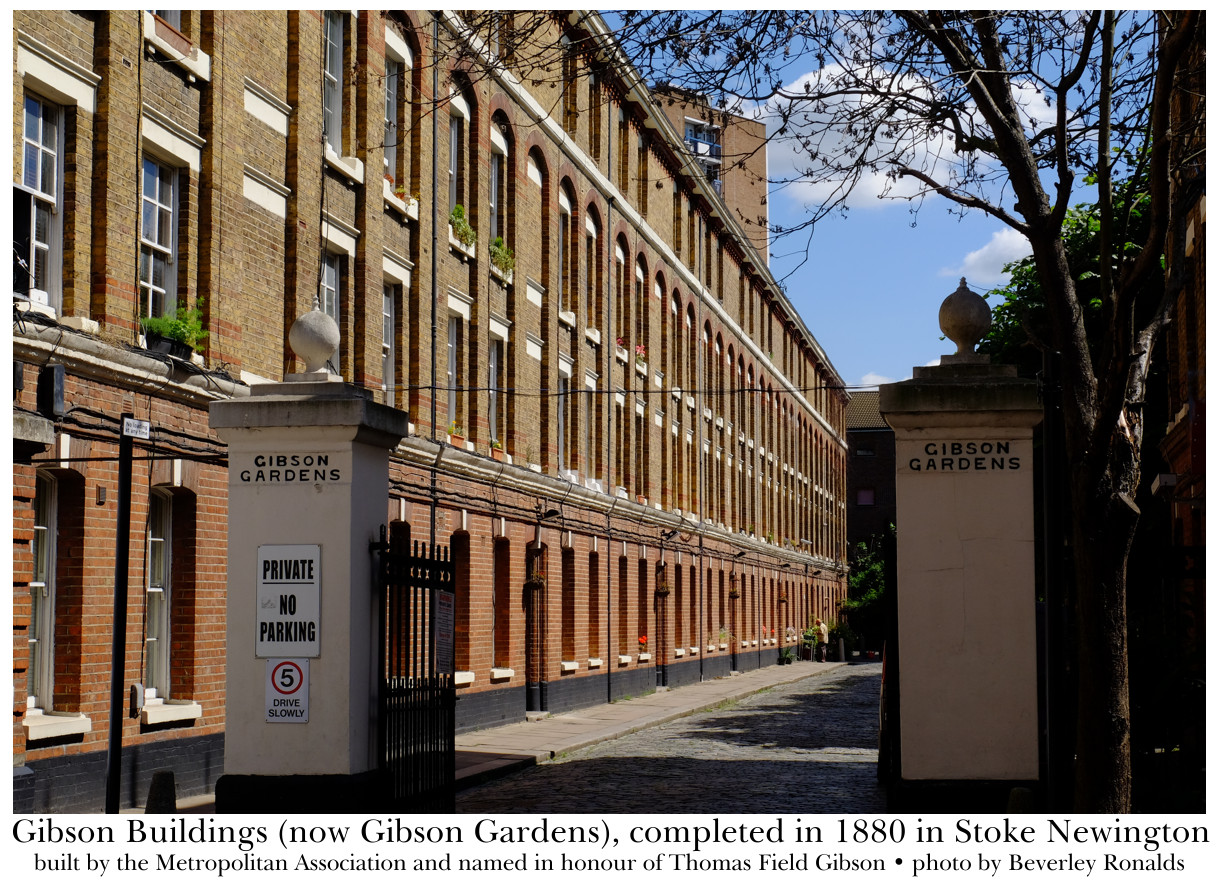 Gibson Buildings (now Gibson Gardens), completed in 1880 in Stoke Newington