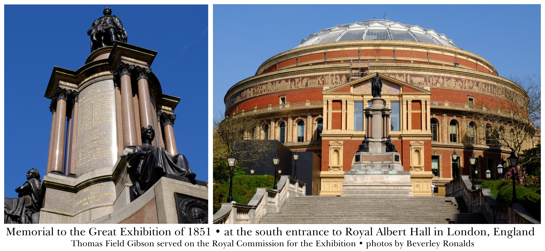 Memorial to the Great Exhibition of 1851 - south entrance to Royal Albert Hall
