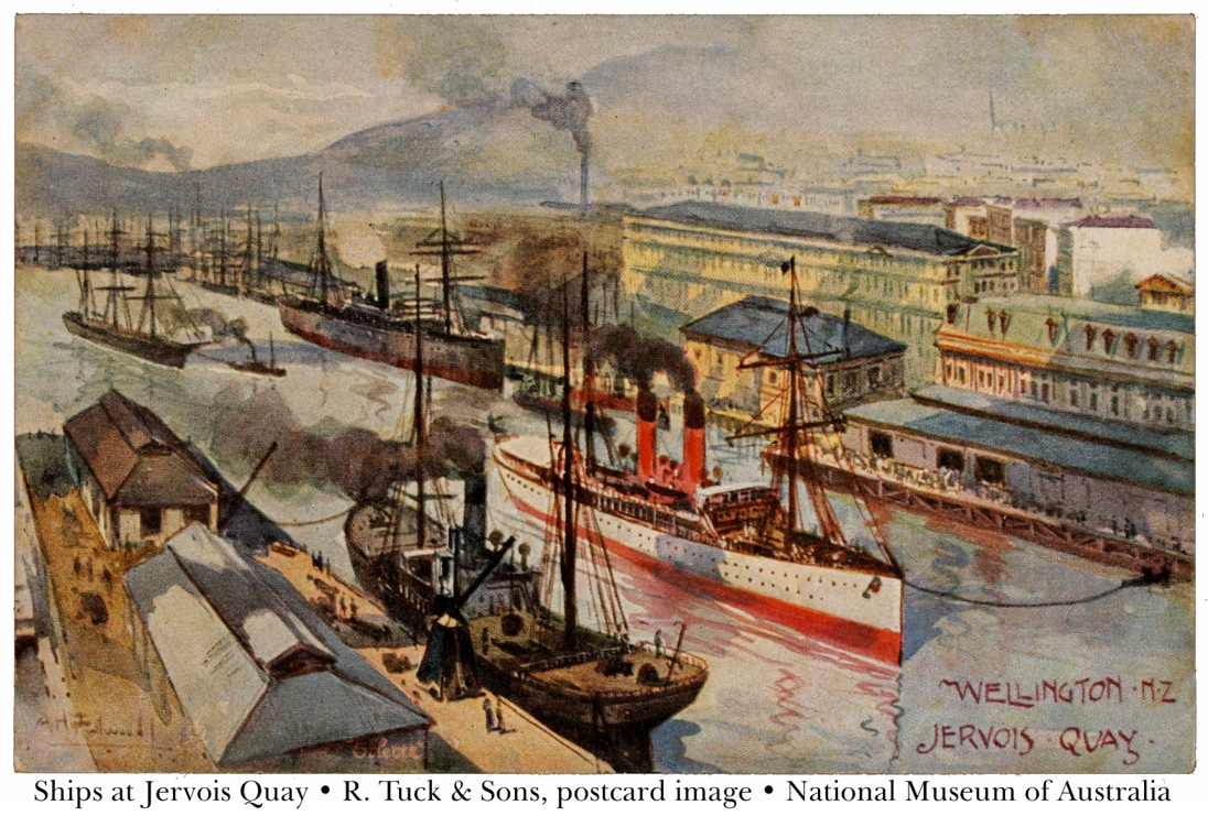 Postcard image of ships tied up at Jervois Quay, Wellington Harbour.